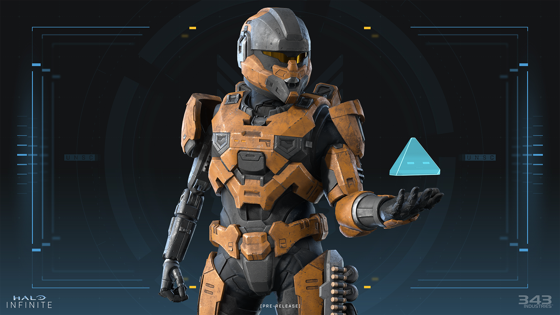 Render of an orange Spartan IV holding up a Fret Personal AI on a dark UNSC background