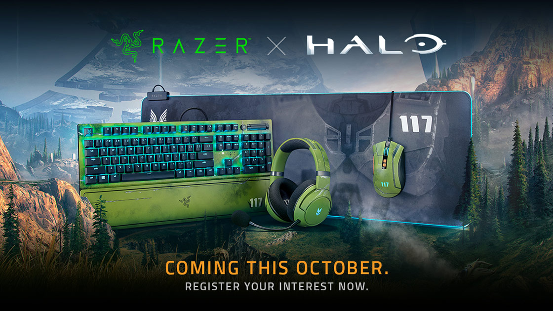 Showcase of upcoming Razer branded / themed Halo gear including keyboard, mouse, headset, and mousepad