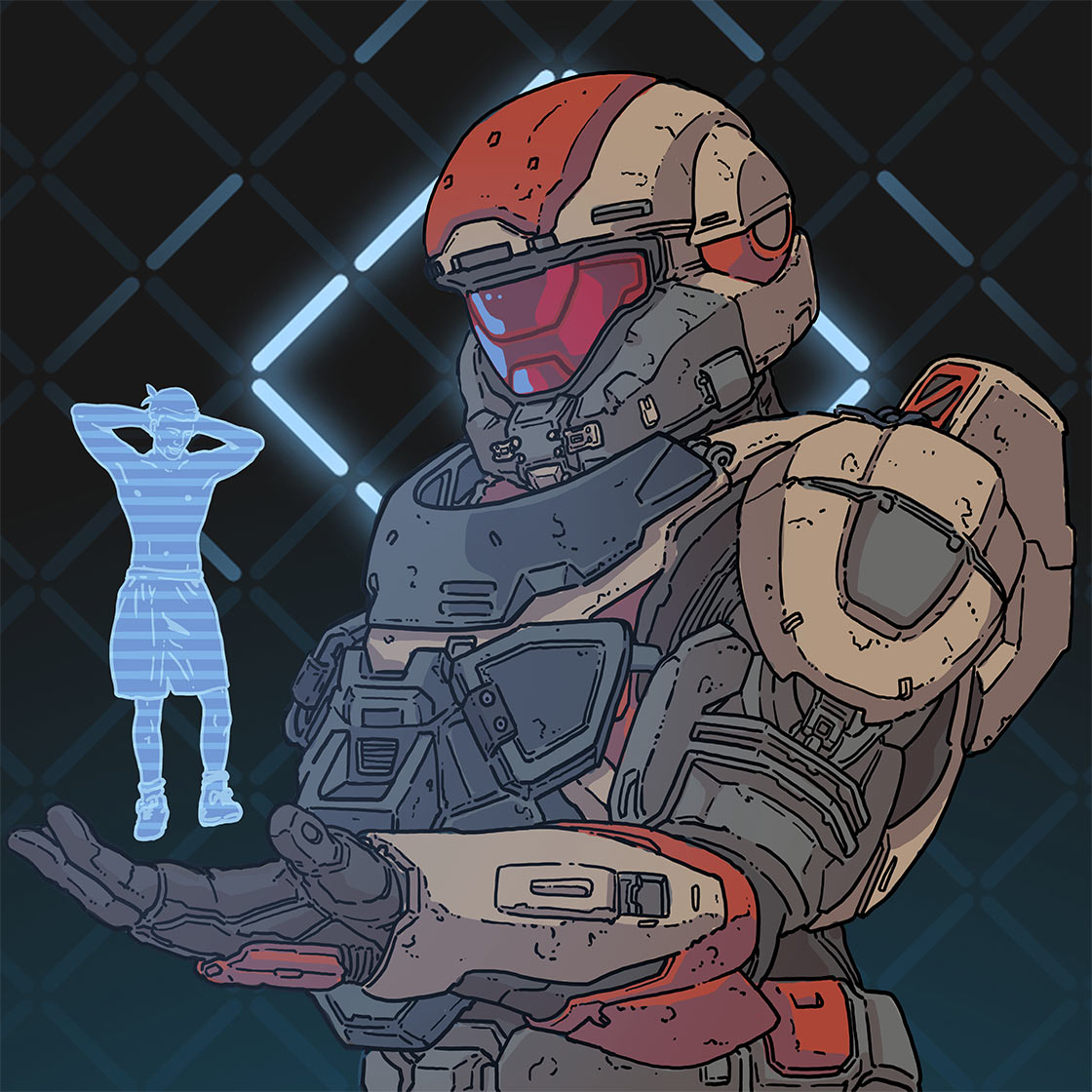 Spartan holding an A I model that is in the form of a man wearing shorts.