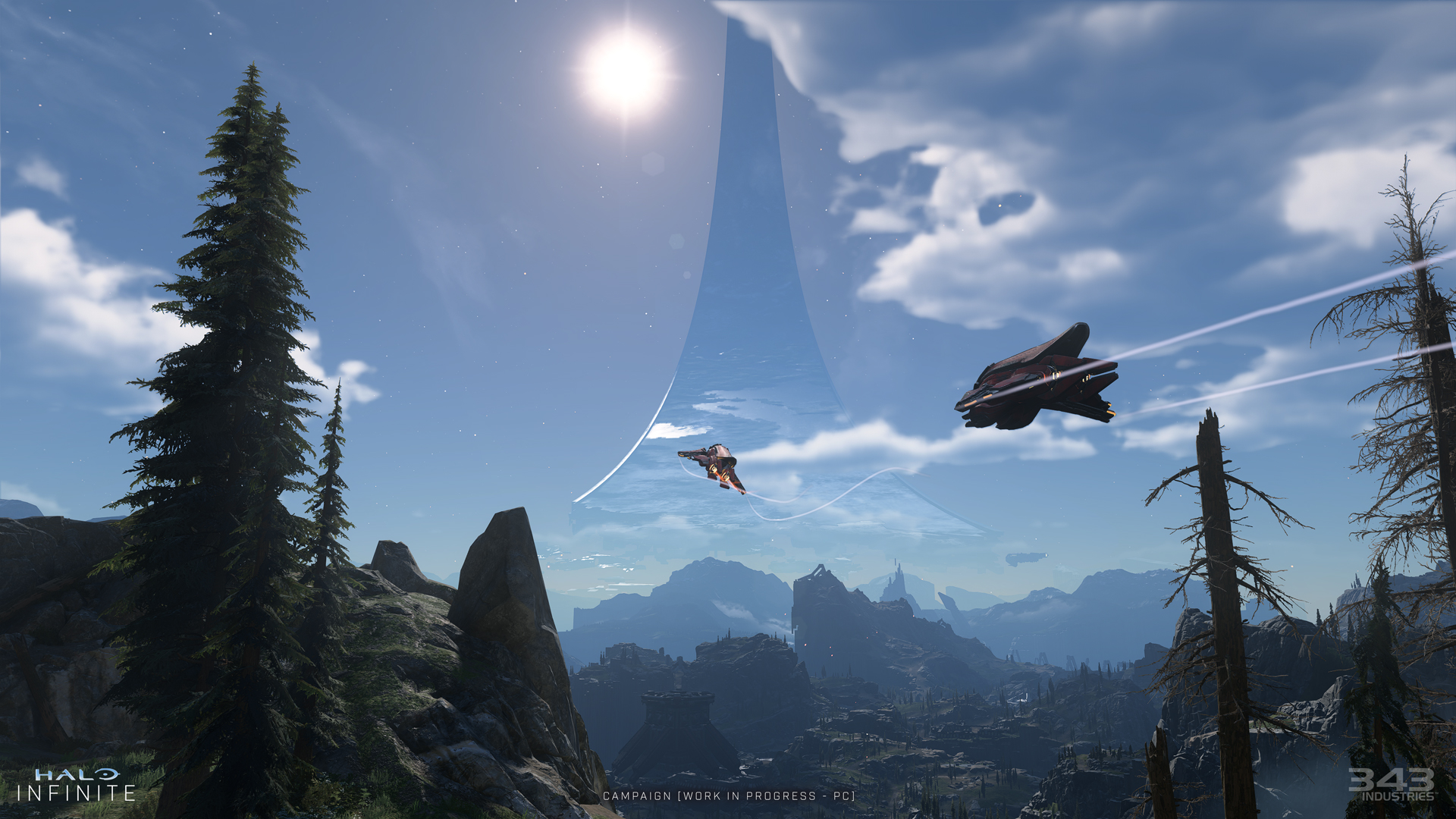 In-game screenshot of two Banshees flying over Zeta Halo.