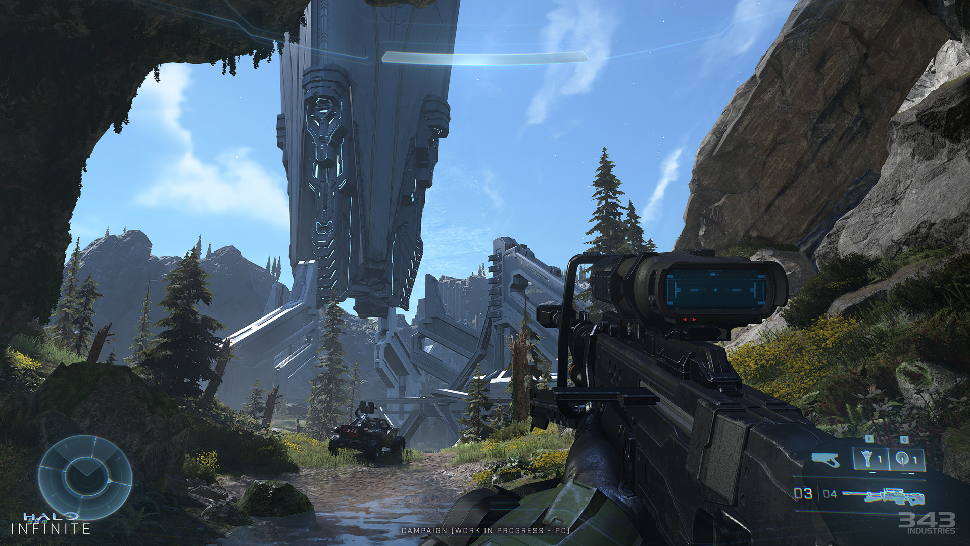 In-game first person screenshot Master Chief holding the Sniper looking at a large Forerunner structure.