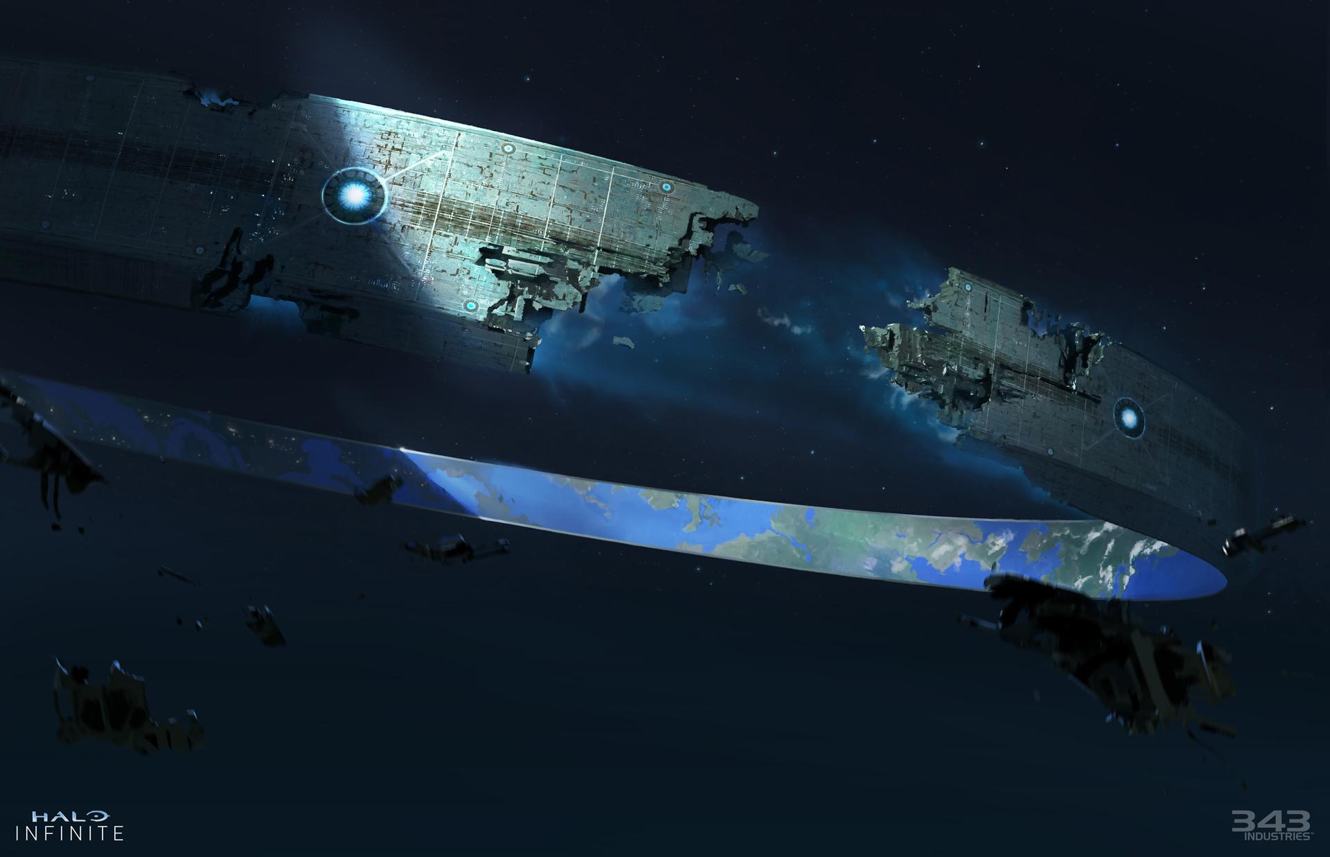 Concept art of a broken Zeta Halo with debris floating in space.