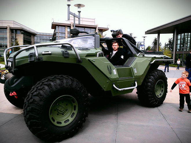 Bravo driving the warthog