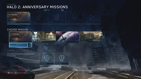 Choix mission Halo : 2 Anniversary